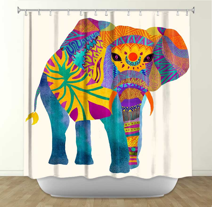 DiaNoche Designs Whimsical Elephant I by Pom Graphic Design Fabric Shower Curtain