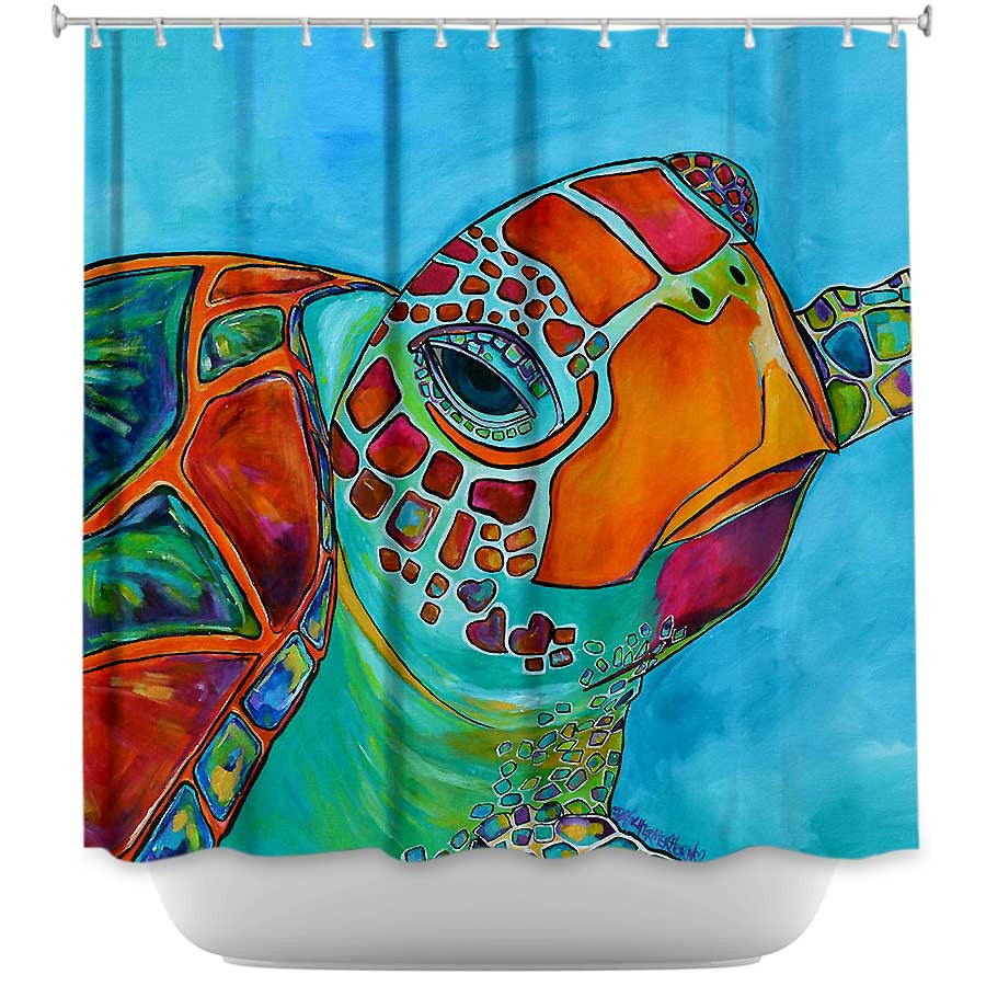Seaglass Sea Turtle By Patti Schermerhorn Fabric Shower Curtain