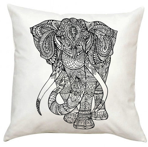Black and White Elephant Pillow EXTRA LARGE-Adult Coloring Book Series