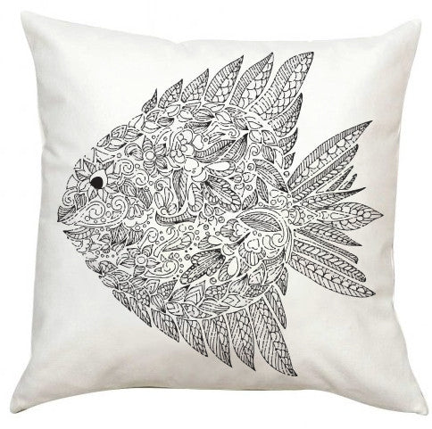 Black and White Fish Pillow EXTRA LARGE-Adult Coloring Book Series