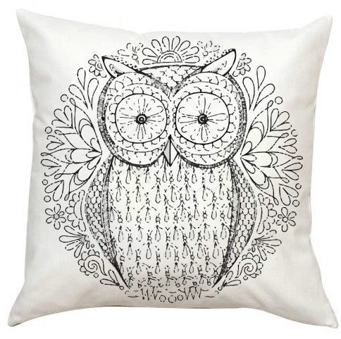 Black and White Owl2 Pillow EXTRA LARGE-Adult Coloring Book Series