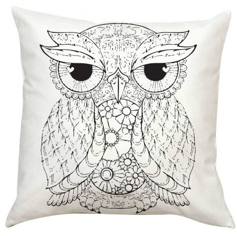 Black and White Owl Pillow EXTRA LARGE-Adult Coloring Book Series