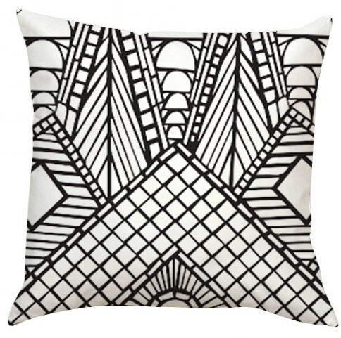 Black and White Roof Peak Pillow-EXTRA LARGE-Adult Coloring Book Series