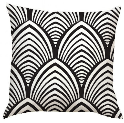 Black and White Shell Pattern Pillow-Adult Coloring Book Series