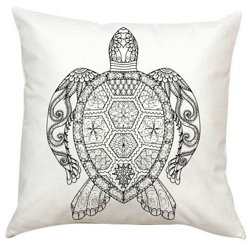 Black and White Turtle Pillow EXTRA LARGE-Adult Coloring Book Series