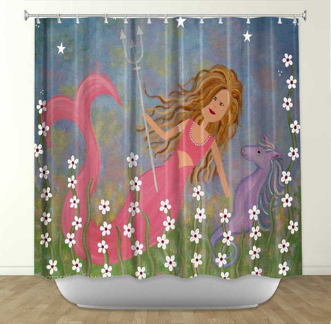 DiaNoche Designs Neptunes Treasure by Samantha Knops Fabric Shower Curtain