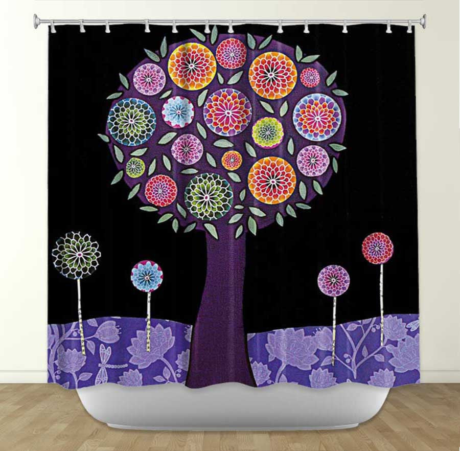 DiaNoche Designs Sascalia Purple Tree Fabric Shower Curtain