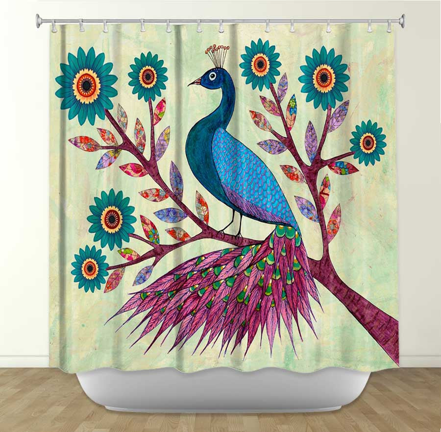 Colorful shower curtains - Dianoche Designs Blue Peacock By Sascalia Fabric Shower Curtain
