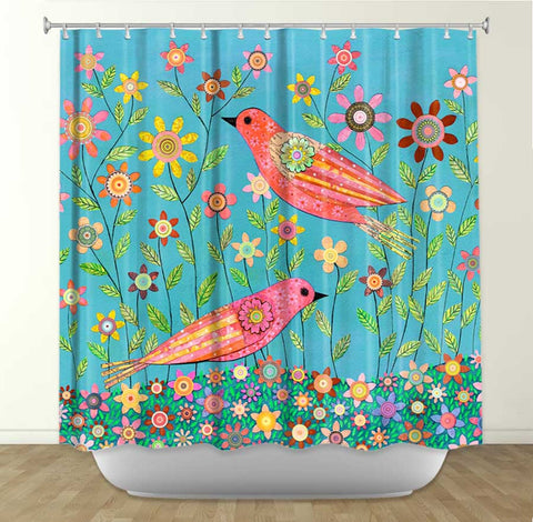 DiaNoche Designs Bohemian Birds by Sascalia Fabric Shower Curtain