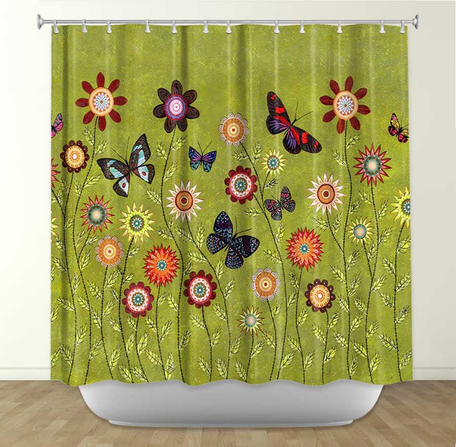 DiaNoche Designs Bohemian Butterflies by Sascalia Fabric Shower Curtain