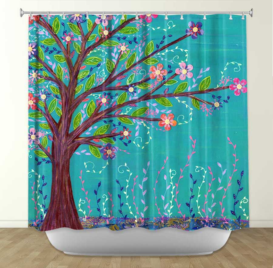 DiaNoche Designs Sascalia Happy Tree Fabric Shower Curtain