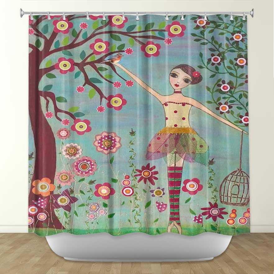 DiaNoche Designs Letting Go by Sascalia Fabric Shower Curtain