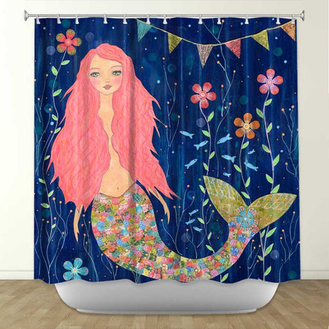 DiaNoche Designs Pink Mermaid by Sascallia Fabric Shower Curtain