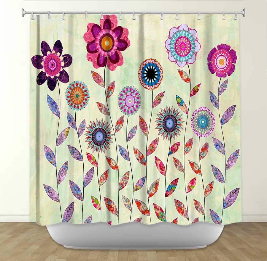 DiaNoche Designs Purple Flowers by Sascalia Fabric Shower Curtain
