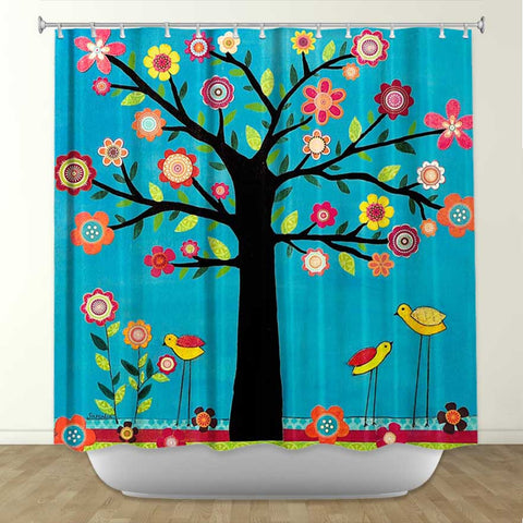 DiaNoche Designs Sunshine by Sascalia Fabric Shower Curtain