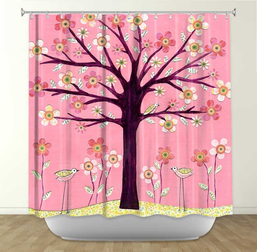 DiaNoche Designs Pink Bird Tree by Sascalia Fabric Shower Curtain
