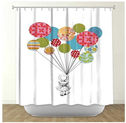 DiaNoche Designs Balloons by Marci Cheary Fabric Shower Curtain