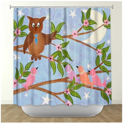 DiaNoche Designs Flight School by Samantha Knops Fabric Shower Curtain