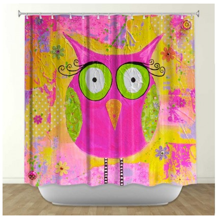 DiaNoche Designs Hootie the Owl by Michelle Fauss Fabric Shower Curtain