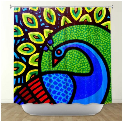 DiaNoche Designs Peacock by John Nolan Fabric Shower Curtain