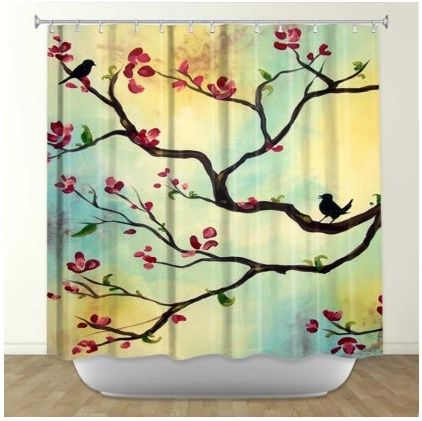 DiaNoche Designs Primavera by Hillary Doggart-Greer Fabric Shower Curtain