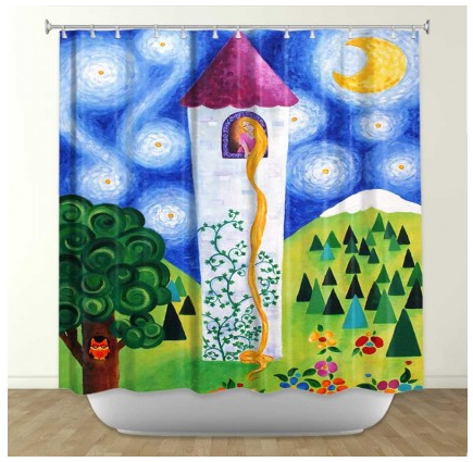DiaNoche Designs Rapunzel's Tower by Nicola Joyner Fabric Shower Curtain