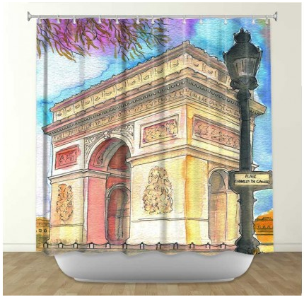 DiaNoche Designs Arc de Triomphe by Diana Evans Fabric Shower Curtain