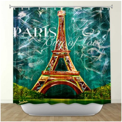 DiaNoche Designs L'amour a Paris Moonlight by Teshia Fabric Shower Curtain