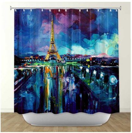 DiaNoche Designs Parisian Night Eiffel Tower by Aja-Ann Fabric Shower Curtain