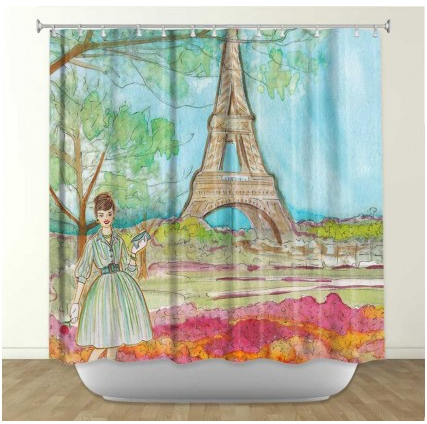 DiaNoche Designs Vintage Paris by Diana Evans Fabric Shower Curtain