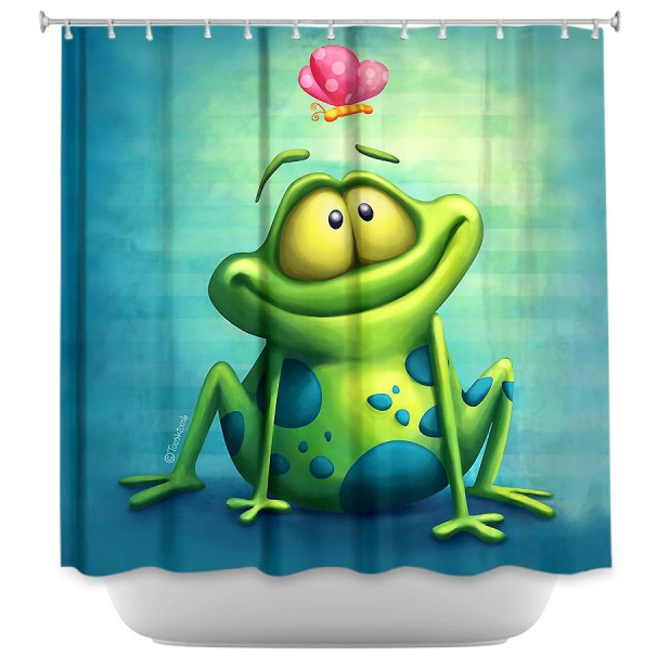 DiaNoche Designs, The Frog II by Tooshtoosh, Fabric Shower Curtain