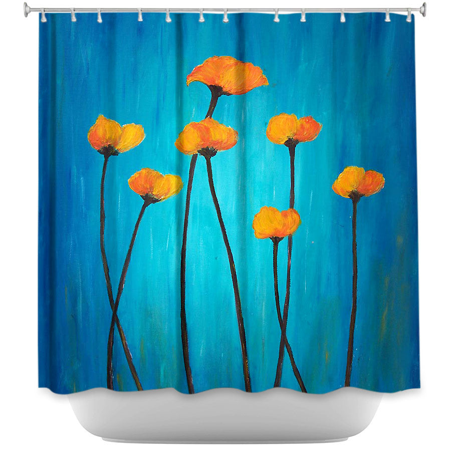 Eternal Poppies by Tara Viswanathan Fabric Shower Curtain
