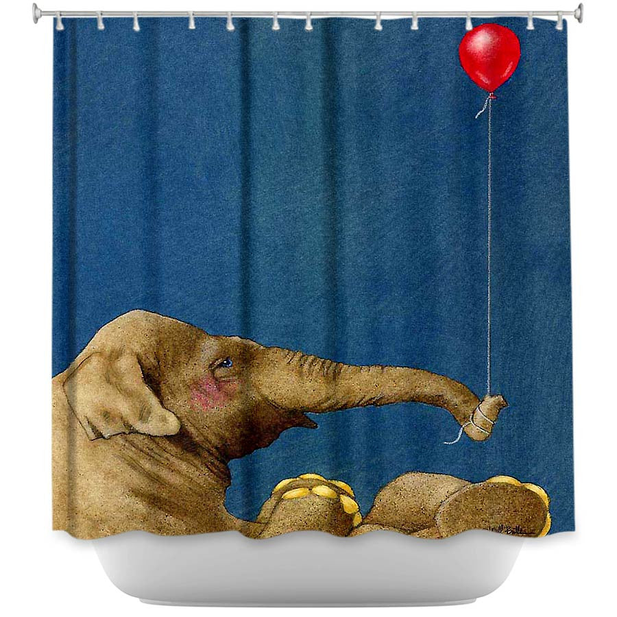 DiaNoche Designs, The Red Balloon by Will Bullas, Fabric Shower Curtain