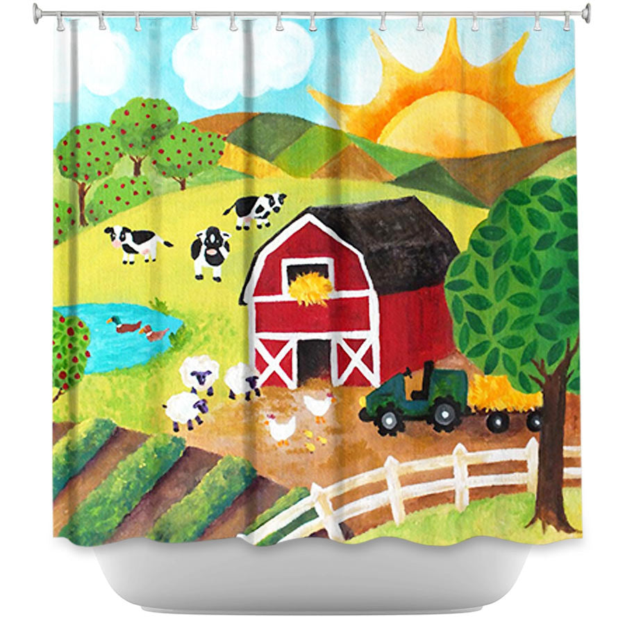 Daybreak on the Farm by Nicola Joyner Fabric Shower Curtain
