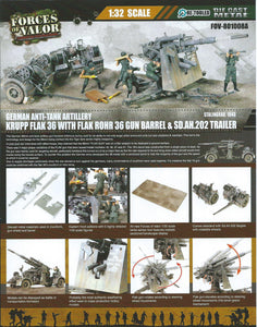 1:32 German Krupp Flak 36 with Flak Rohr 36 gun barrel & sd. 202 tow vehicle