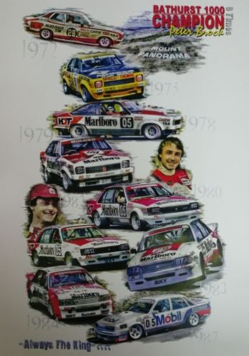 Bathurst 1000 Champion 9 Times Peter Brock A3 Poster