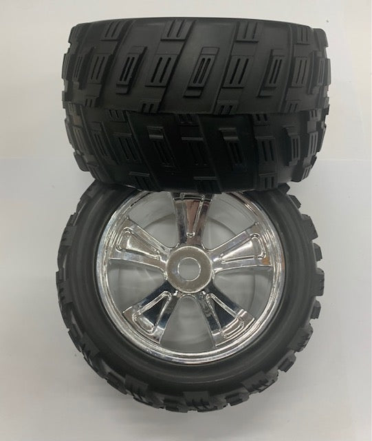 1:8 Monster Truck Tyres Complete Pair - Chrome