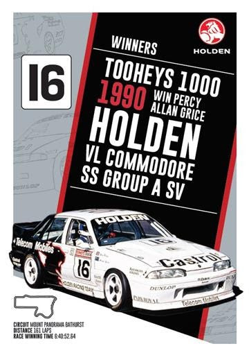 Retro Holden Bathurst Winner Print - 1990 VL Commodore SS Group A SV