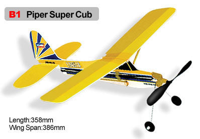 Rubber Band Powered Planes Piper Super Club Model