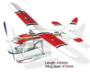 Rubber Band Powered Seaplane Red Wing