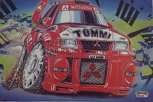 Cartoon Mitsubishi Tommi V2 MMR Rally Car A3 Poster