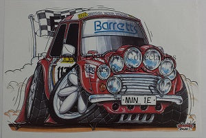 Cartoon Rally Mini Barretts MIN 1E A3 Poster