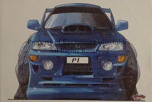 Cartoon Blue Subaru Impreza P1 (Front) A3 Poster