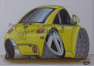 Cartoon Volkswagen VW Beetle Yellow A3 Poster