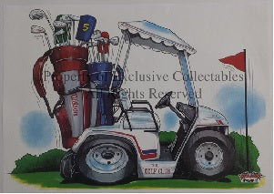 Cartoon Golf Club Caddy A3 Poster
