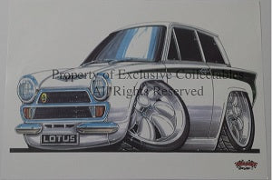Cartoon Lotus Cortina A3 Poster