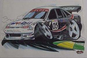 Cartoon Peter Brock Holden Mobil No 05 A3 Poster