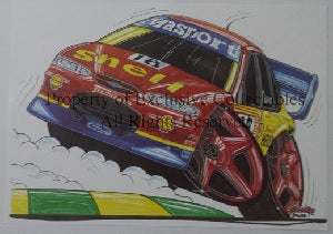 Cartoon John Bowe Shell FAI Ford Falcon No 18 A3 Poster