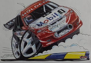 Cartoon Craig Lowndes Holden HRT No 15 A3 Poster