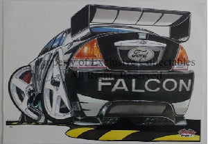 Cartoon Craig Lowndes Green Eyed Monster (Rear) A3 Poster